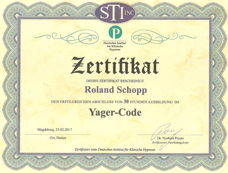 Urkunde Zertifikat Yager Code
